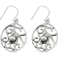 Big Excellent ! 925 Sterling Silver Pearl Earrings
