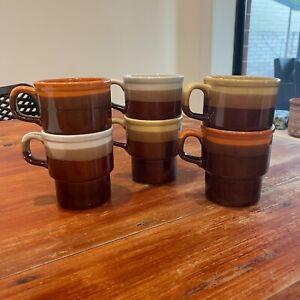 Set 6 Vintage Japan Stoneware Stackable Cups Colourful Mugs Retro