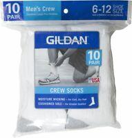 Gildan Men's Crew Socks, 10 Pairs Shoe Size: 6-12
