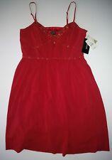 NICOLE MILLER SPAGHETTI STRAPS PLEATED RED BEADED CHIFFON DRESS SIZE 10 NWT VGC