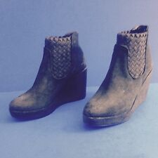 Hoss Intropia Black Suede Kristin Ankle Boot Wedge Heels Size 5.5 36 New Unworn