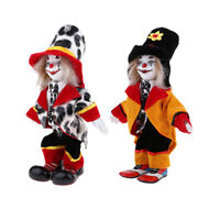 2pcs Vintage Hand Painted Porcelain Clown Ceramic Clown Dolls Decoration