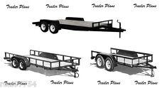 (3 Sets) Tandem Trailer Plans - 8x20 Car Plus 8 x 20 & 8 x 10 Utility Trailers