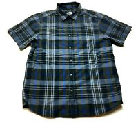 The North Face Mens Blue Plaid Front Pocket Button Front Shirt Size Large