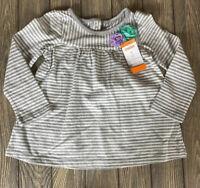 Gymboree Toddler Girls Gray White Stripe Floral Long Sleeve Shirt Size 3T
