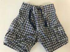 BABY BOYS CARGO SHORTS 3-6 MONTHS OLD NAVY PULL ON BLUE / WHITE CHECK
