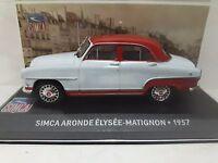 1/43CAL391 SIMCA ARONDE ÉLYSÉE MATIGNON 1957 CELESTE/ROJO