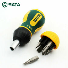 6 in 1 SATA Stubby Ratcheting Screwdriver Magnetic Multi-Bit Rubber Handle Tool