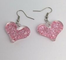 Pink Large Bubble Heart Glitter Charms Acrylic Earrings F110 4.5 Cm Long Silver