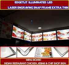 Edgelit Illuminated LED Lase SlimBoard Restaurant Fast Food Kebab Chip Shop Sign