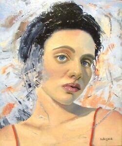 ORIGINAL female portrait figure oil painting modern unusual art woman people
