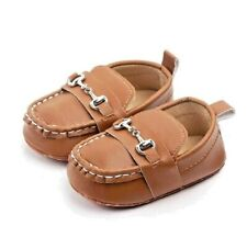 Baby Boy Leather Loafer Moccasin Shoes - Soft Sole - Crib Shoe - Anti-Slip