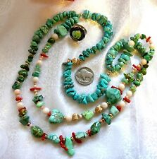 Natural Carico Lake Green & Blue Turquoise 14K Gold Angel Skin Coral Necklace
