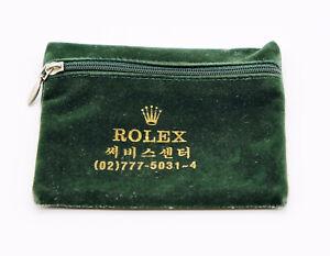 Vintage Green Velvet Rolex Watch Service Travel Zip Pouch Korean Agent 1970s/80s