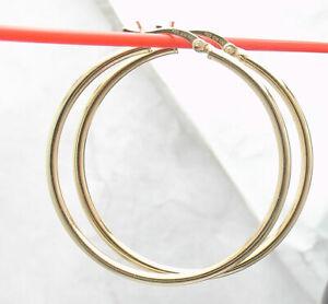 "1 1/2"" Technibond Shiny Plain Round Hoop Earrings 14K Yellow Gold Clad Silver"