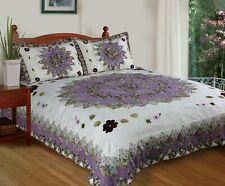 Pansy's Field Purple Patchwork Hand-Stitch Twin-Size Quilt Set