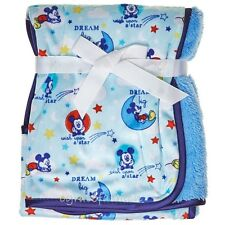 Disney Mickey Mouse Stars Moon Baby Boys Layette Mink Sherpa Reversible Blanket
