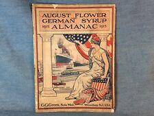 ORIGINAL 1915 GENERAL STORE ALMANAC AUGUST FLOWER GERMAN SYRUP PATRIOTIC COVER