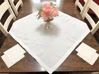 "Vintage White 36x36"" Square Linen Table Topper w/ 4 Napkins Set (RF1069)"