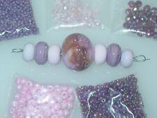 Pink Purple .999 Silver Handmade Lampwork Glass Crystal Seed Bead Lot 4040
