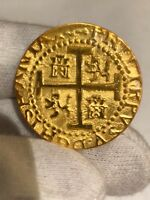 (1) PERU LIMA 8 ESCUDOS 1710 22kt. PLATED GOLD DOUBLOON 1715 FLEET TREASURE COIN
