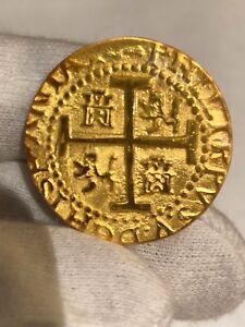 (1) PERU LIMA 8 ESCUDOS 1710 22kt. PLATED GOLD DOUBLOON 1715 FLEET TREASURE COIN