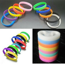 Men Women Silicone Rubber Stretchy Sports Cuff Bracelet Bangle Wristband Band