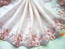 "1Y~8""~Lace Trim Tulle Venise Embroidered Floral Bunch Wedding Dolls Dress Pink"