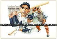 Vintage, RARE Yogi Berra signed New York Yankees Lithograph, Large Print REPRINT