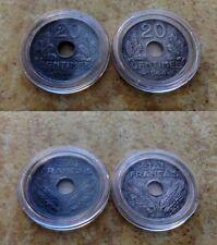 FRANCE: lot des 2 x 20 centimes de 1944 (zinc + fer)