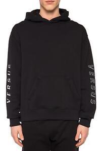 New Versus Versace Men's Logo Hoodie Hooded Sweatshirt Black XL