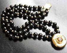 Vintage Onyx Bead 3 Strand 14K Citrine & Diamond Bracelet