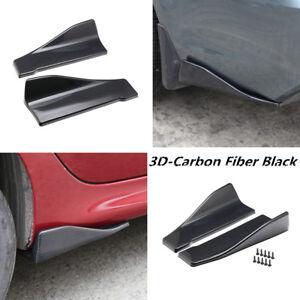 2pcs 3D Carbon Fiber Car Rear Bumper Fin Canard Splitter Diffuser Spoiler Lip