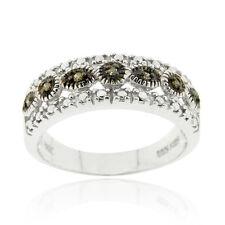 925 Silver 1/10ct Black Diamond Band Ring