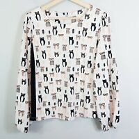 [ NEXT ] Womens Cat Print Long Sleeve Blouse Top | Size AU 12 or US 8