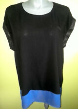 Ladies Womens Cap Sleeve Blouse Top Shirt Black & Blue Casual Work Moda Size 18