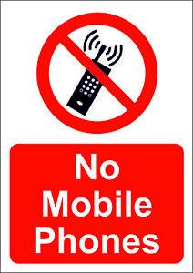NO PHONES/NO MOBILE PHONES ALLOWED  A5/A4/A3 STICKER OR FOAMEX SIGN