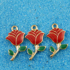 20pcs/lot Colorful Alloy Enamel Rose Flower Pendant Charms Jewelry Accessories
