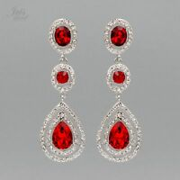 Rhodium Plated Red Crystal Rhinestone Tear Drop Dangle Earrings 881 pageant Prom