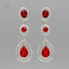 Rhodium Plated Red Crystal Rhinestone Chandelier Drop Dangle Earrings 06881 New
