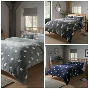 Teddy Bear Fleece printed Duvet Cover Set Sherpa Thermal Warm Soft Cozy Bedding