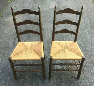 (2) Vintage Rustic Farmhouse Ladderback Dining Accent Rush Seat Chairs