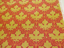 """Red & Gold Baroque Leaf  """"Seymour"""" Printed 100% Cotton Curtain Fabric"""