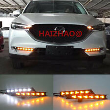 2x LED Daytime Day Fog Lights DRL Run lamp w/ Turn Signal For Mazda CX-5 2017