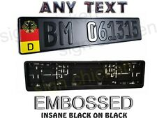 German Black On Black, Euro Style Tag, Bmw, European License plate, Any Text
