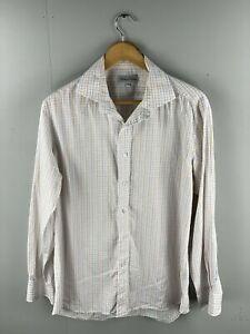 Anthony Squires Men's Long Sleeve Shirt - Size 42 - Orange Blue Stripe