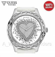 GUESS Watch Silver Flutter Heart Transparent with Crystals - White Leather Band