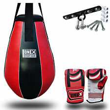 5 Piece Maiz Punch Bags Tear Drop Bag Ceiling Hook Bag Mitt Red Training Bag MMA