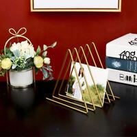 Newspaper Magazine Rack Home Office Triangle Iron Desktop File Organizer Golden