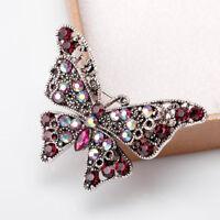 Metal Brooch Pretty Women Rhinestone Butterfly Insect Lapel Pin Fashion Jewelry
